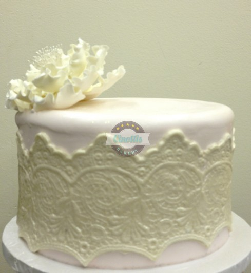 Cake With Fondant Lace : Lace and Peony- Simply Beautiful Cake from Cinotti s Bakery