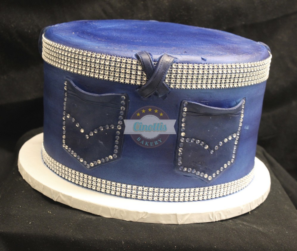 Jeans Bling, Cake, Birthday, denim, belt buckle, fondant, buttercream Cinottis Bakery, Jean Cake