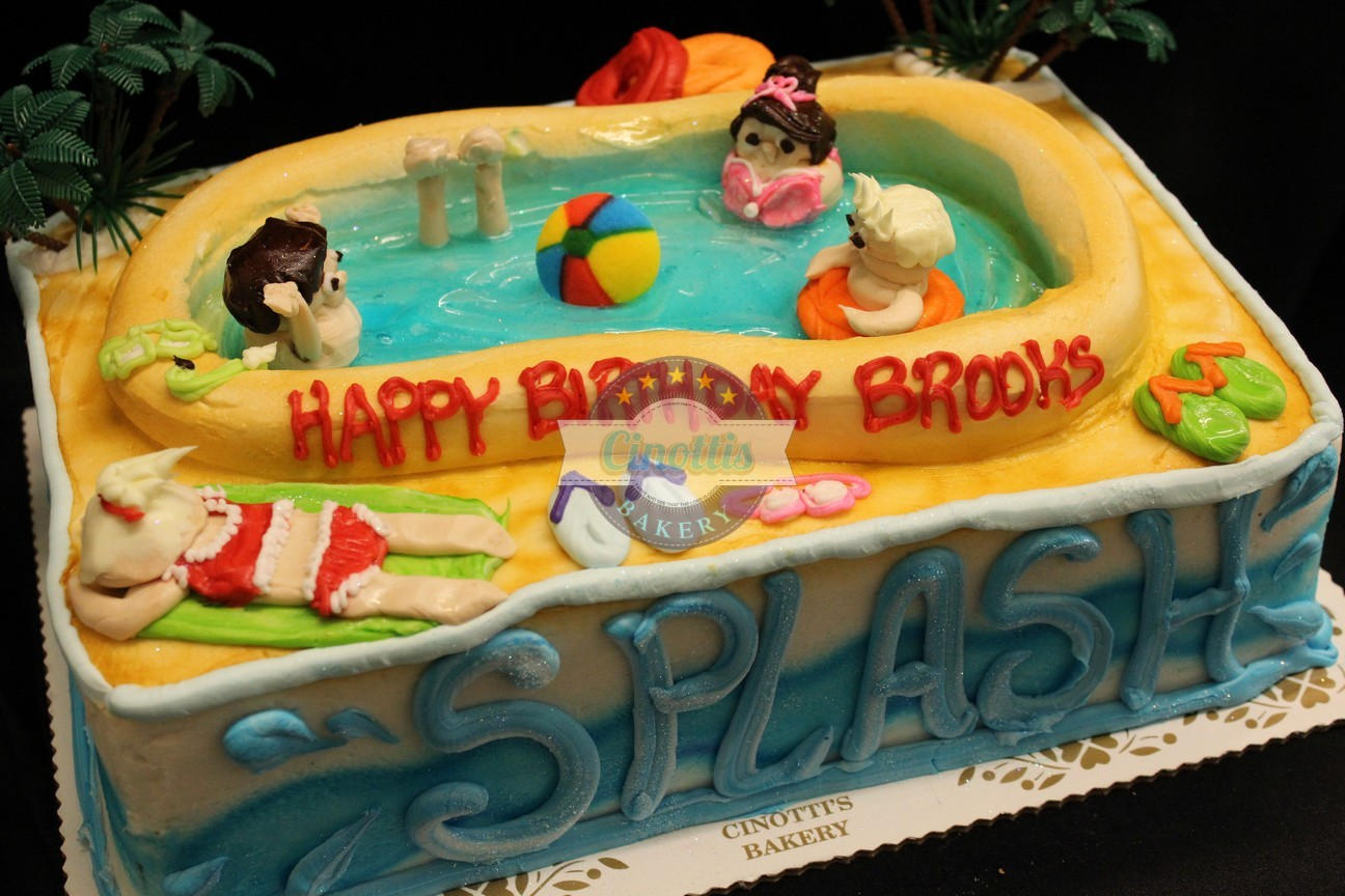 Pool party summer fun, backyard barbque, birthday, party, fun, water, splash, buttercream handmade, Cinottis Bakery