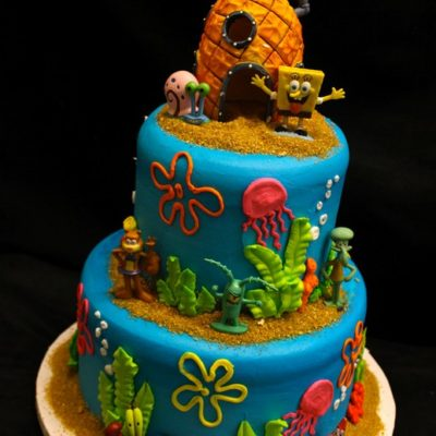 Underwater theme, Finding Nemo, Spongebob, Fondant, Buttercream Fish, Coral, Seaweed, Bubbles, Ocean, Mermaid, Snorkle, Birthday, Baby, Cake, Cinottis Bakery pineapple