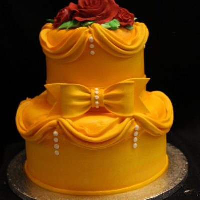 Beauty and the Beast, Belle, Golden dress, rose, Disney Birthday cake, baby shower,