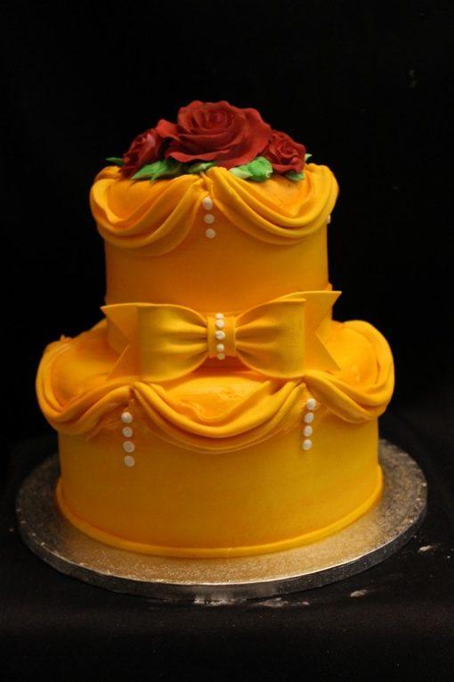 Beauty and the Beast, Belle, Golden dress, rose, Disney Birthday cake, baby shower,