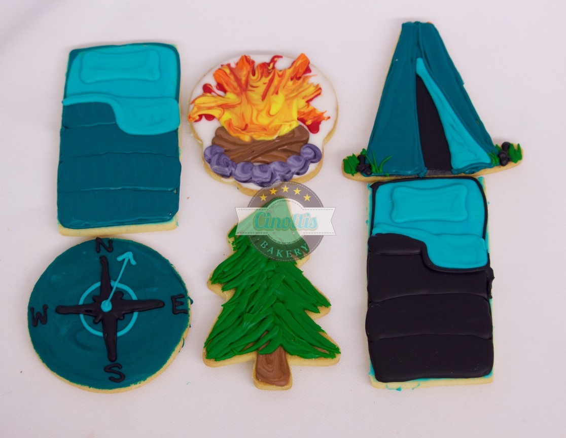 Camping set, cookies, Tent, Sleeping Bag, Campfire, Compass, Trees, Woods, Outdoors, Boyscouts, Girlscouts, Backwoods, Summertime, nights, boy, girl, camp
