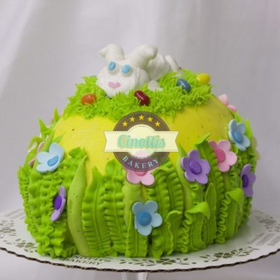 Easter Egg Icing Cake, Vanilla Chocolate Centerpiece Basket, Spring, Bunny, Colorful, Pastel, Buttercream Icing, Cinottis Bakery, Jacksonville Beach, Carrots, Sheeps, Eggs, Grass5