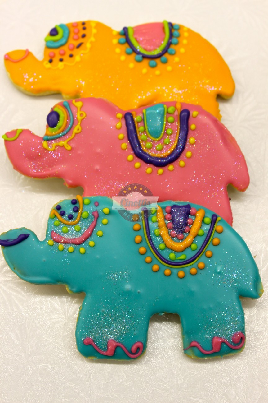 Elephant Cookies, Indian, Circus, Baby, Shower, Birthday, DUMBO, Disney, Fondant, Cinottis Bakery, Jacksonville Beach, Animal, Zoo,