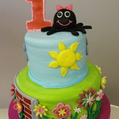 ITsy Bitsy Spider, Nursery rhyme baby shower cake, Girl birthday, Sunshine, books, fondant, buttercream Cinottis Bakery