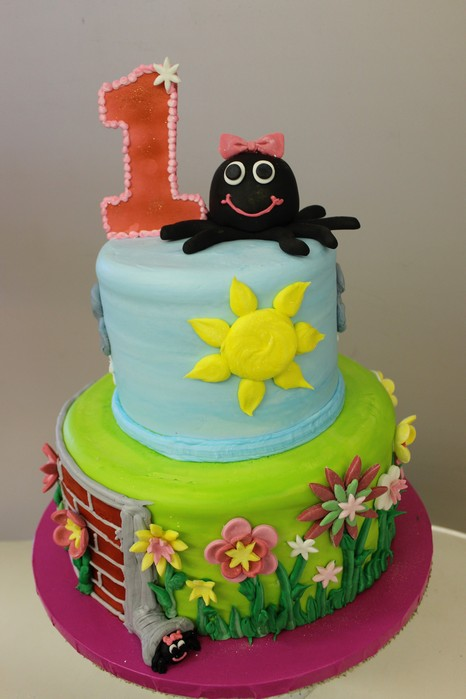 ITsy Bitsy Spider, Nursery rhyme baby shower cake, Girl birthday, Sunshine, books, fondant, buttercream Cinottis Bakery