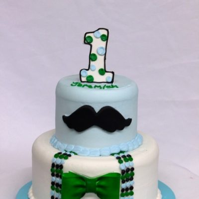 Mustache of a Man, baby party cake, suspenders, bowtie, mustache, cake