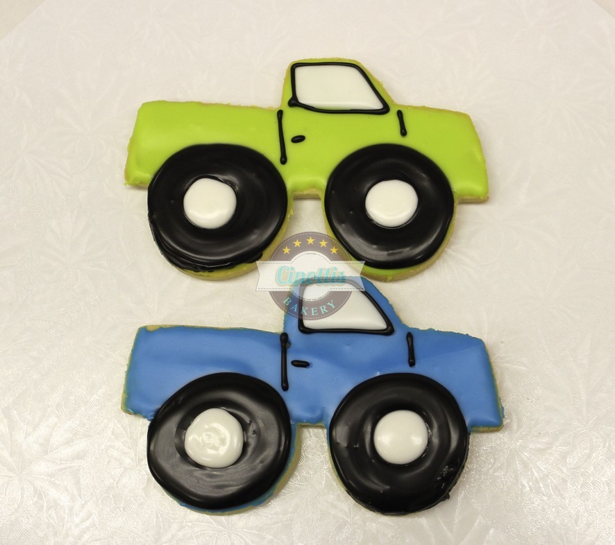 Green Monster Truck Toy : Monster truck iced cutout cookies from cinotti s bakery