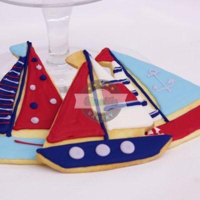 Nautical Assortment, Regatta, Sail, boat, onsie, sailor, shower, sea, anchors, stripes, rope, blue, white, red, flag, Cinottis Bakery, Fodant Cookies baby birthday, boy girl1