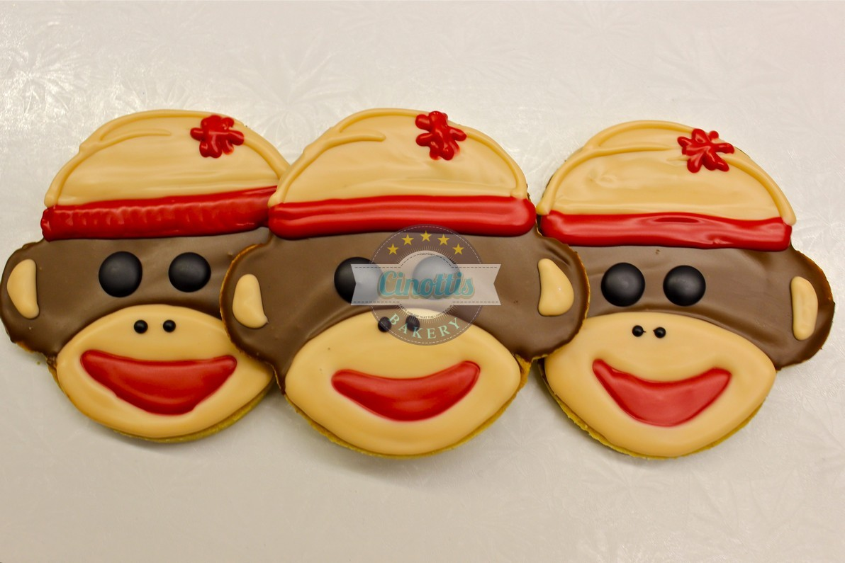 Sock Monkey, Cookie, Animal, Zoo, Paul Frank, Curious George, Monkey, Birthday, kids, boy girl, Cinottis Bakery Jacksonville Beach Fondant Icing