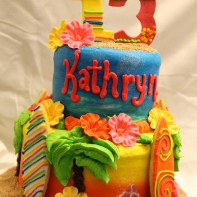 beach party cake, surfboards, ocean, flowers, luau, palm trees, sand, flip flops, cake, baby