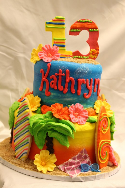 Perfect Sunset, beach party cake, surfboards, ocean, flowers, luau, palm trees, sand, flip flops, cake, baby