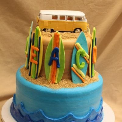 beach party cake, surfboards, ocean, flowers, luau, palm trees, sand, flip flops, cake, baby1