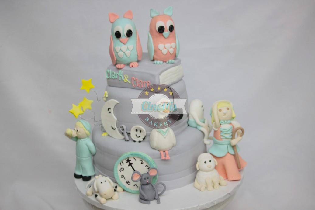 Mother Goose Story Book, Baby shower cake, nursery rhymes, mother goose, fondant little boy blue, cinottis bakery, books, owls. mouse, spider, muffett