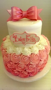 Pink Ombre Rosettes, baby cake bow Cinottis Bakery Shower birthday celebration