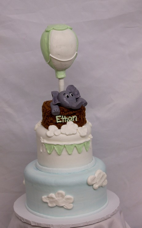 Elephant's Hot Air Balloon, Clouds Baby SHower Birhday Fodant CInotti Bakery Basket Banner