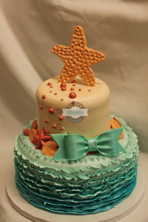 Dusty Mermaid,Ombre Ruffles, aqua, starfish, beachy chic, shabby, fondant bows, sea shells,