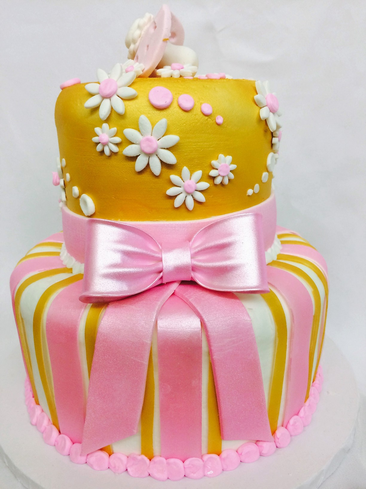 Pink and Gold Baby Bow, Cake