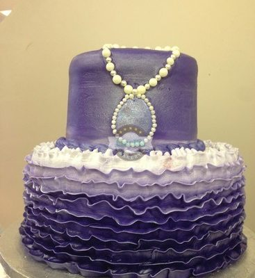 Sofia the first cake, amulet, purple ombre ruffles, Disney, birthday baby, cake, shower,