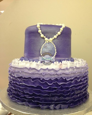 Sophia's Purple amulet, ombre ruffles, Disney, birthday baby, cake, shower,