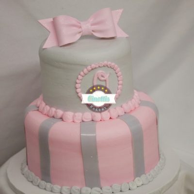 Pink and Grey Monogram, Cinottis Bakery, Baby Shower Fondant Bow