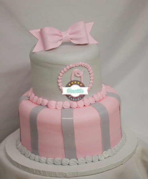 Pink And Grey Monogram Cake Celebrate With Cinottis Bakery