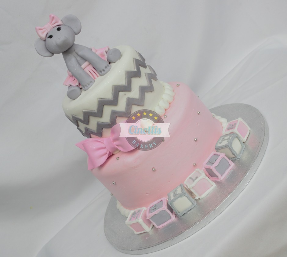 Baby elephant and blocks, Bow, Blocks, Birthday, Fondant, Pink, Cinottis Bakery Ballerina3