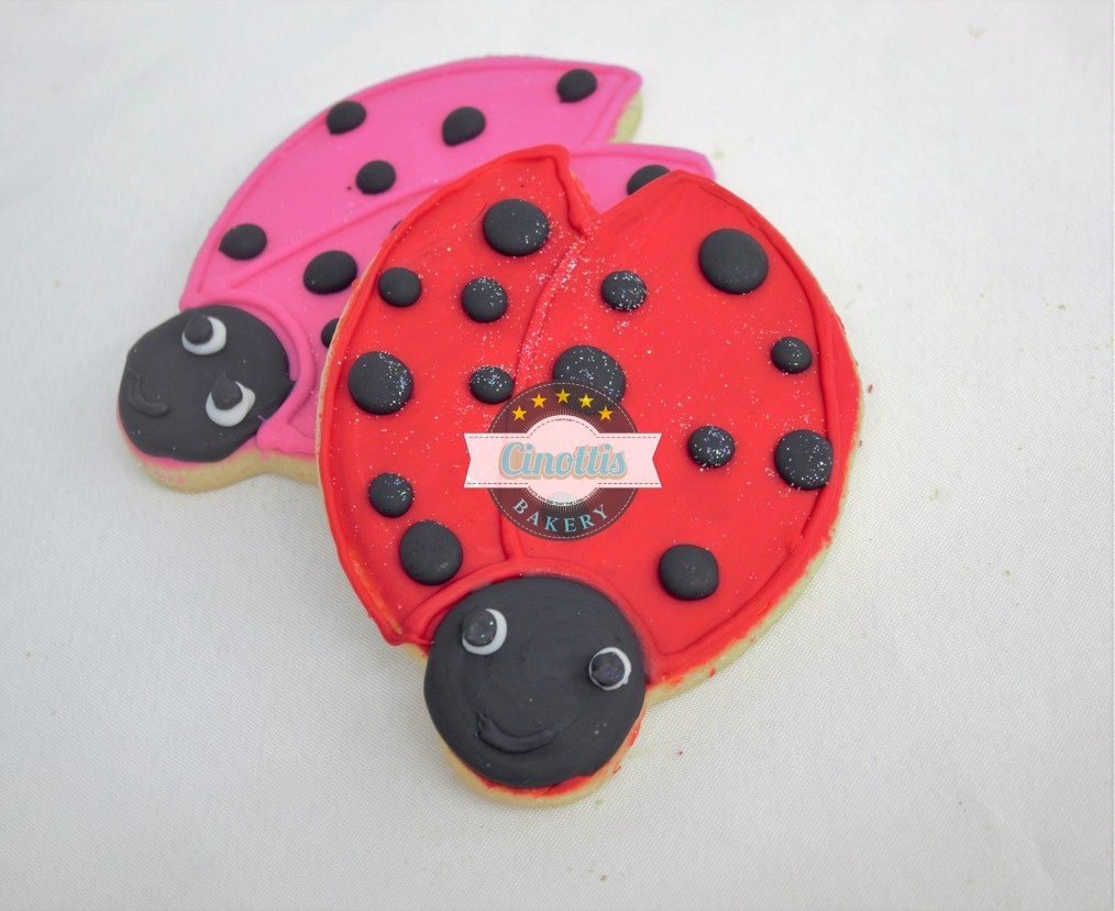 Lady bug Snail Cookie, Spring, lady but, bumble bee, caterpillar, hungry, dragonfly, leaves, flowers, tree, butterfly, fondant Cinottis3