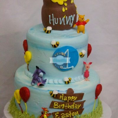 Winnie the Pooh cake, baby shower, birthday, honey pot bumble bees, first birthday, baby, shower, cake, Diseny hundred acre woods