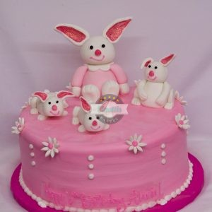 Fondant Bunnies, Cinottis Bakery Cake, Birthday Cake Fondant