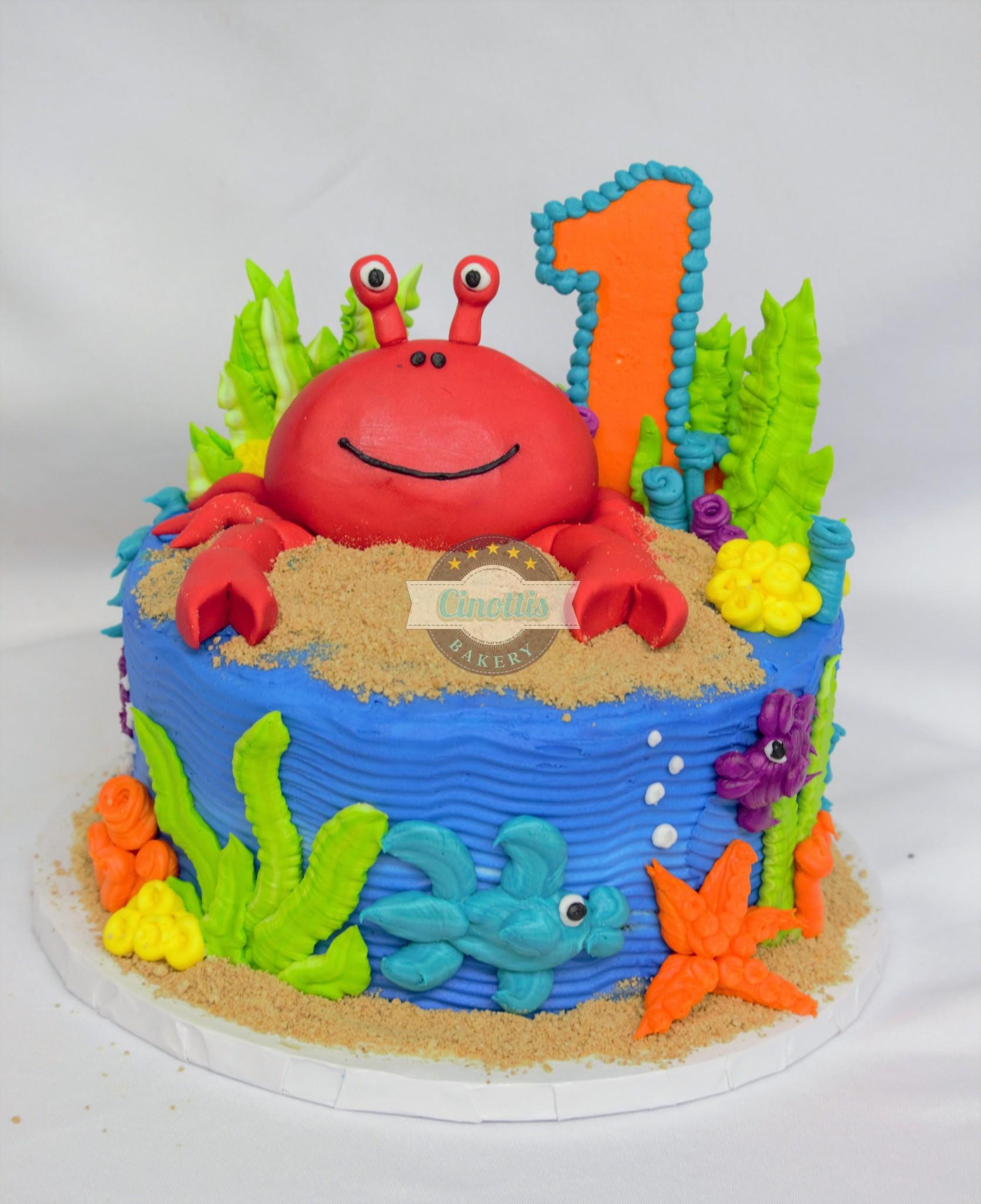 Crabby Underwater, ocean-fondant-coral-sebastian-ariel-birthday-party-lobster-fish-beach-fun-blue-mermaid-cinottis-bakery