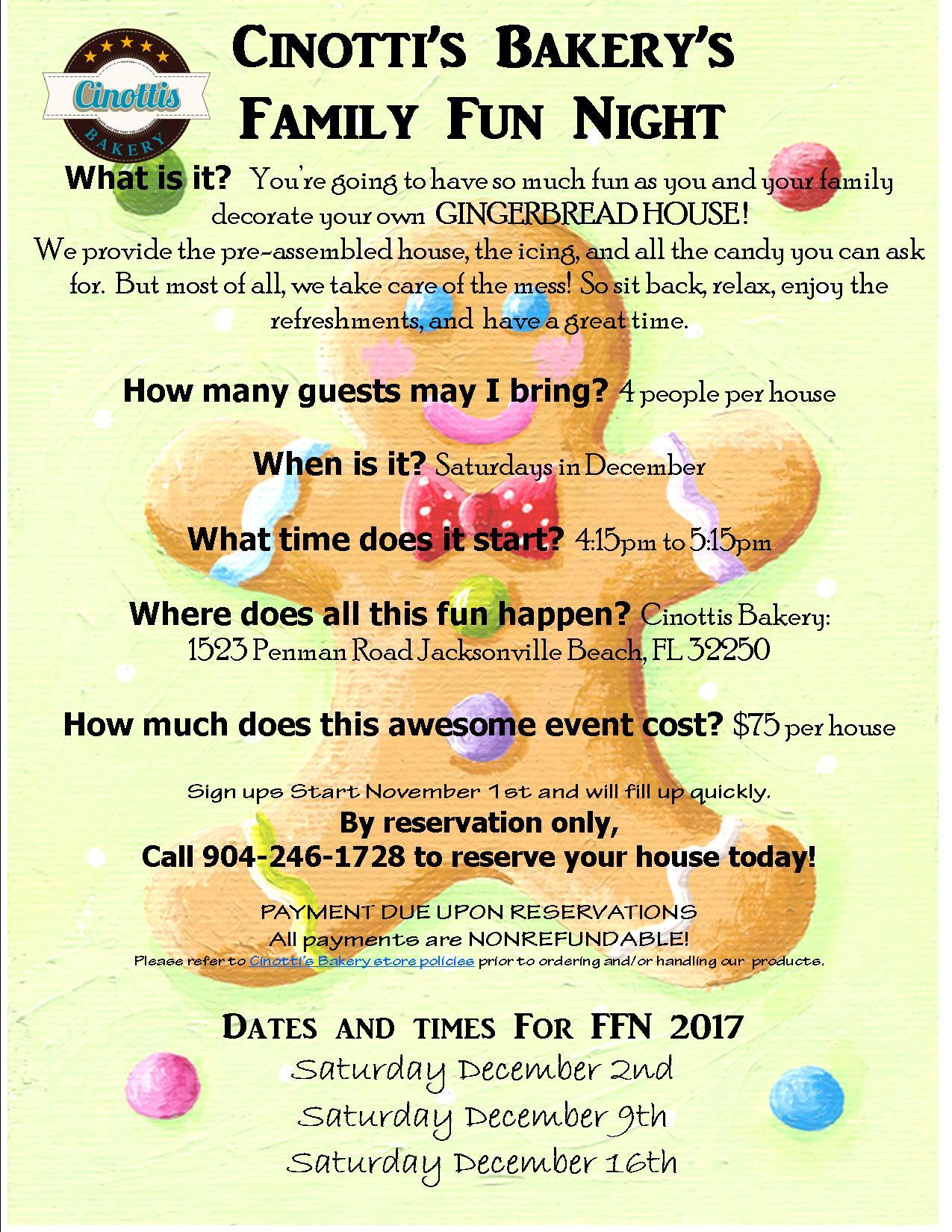 Gingerbread, FAMILY FUN NIGHTS 2017