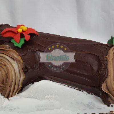 Yule log, Cinottis Bakery, Christmas Cake, Buche de Noel, poinsettia, log, forest, snow