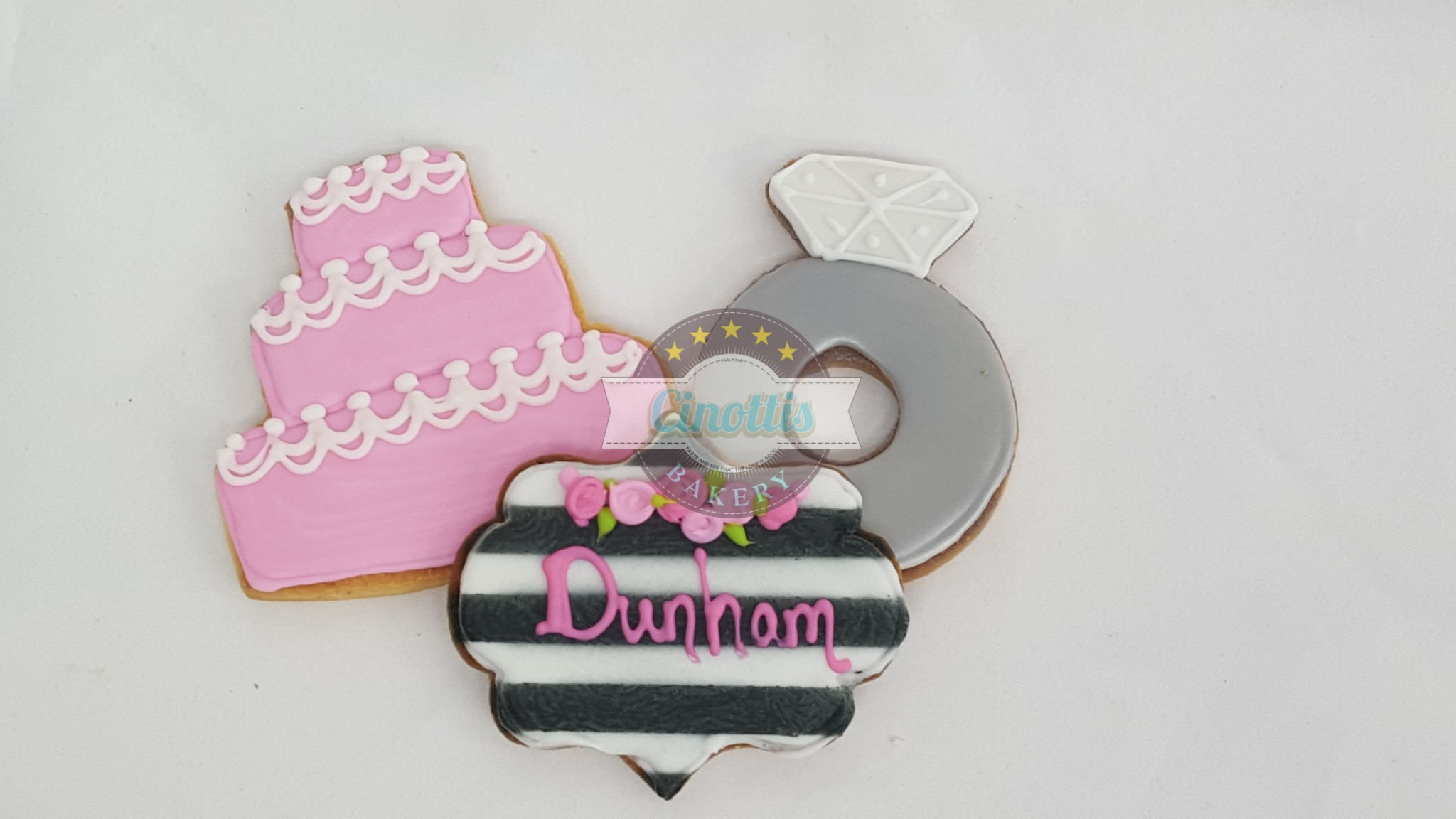 Chic Wedding, Shower, Favor, Ring, Cake, Cookie, Stripes, Monogram, Cinottis Bakery, Fondant, Diamond, Jewels, Silver, Gold, Band