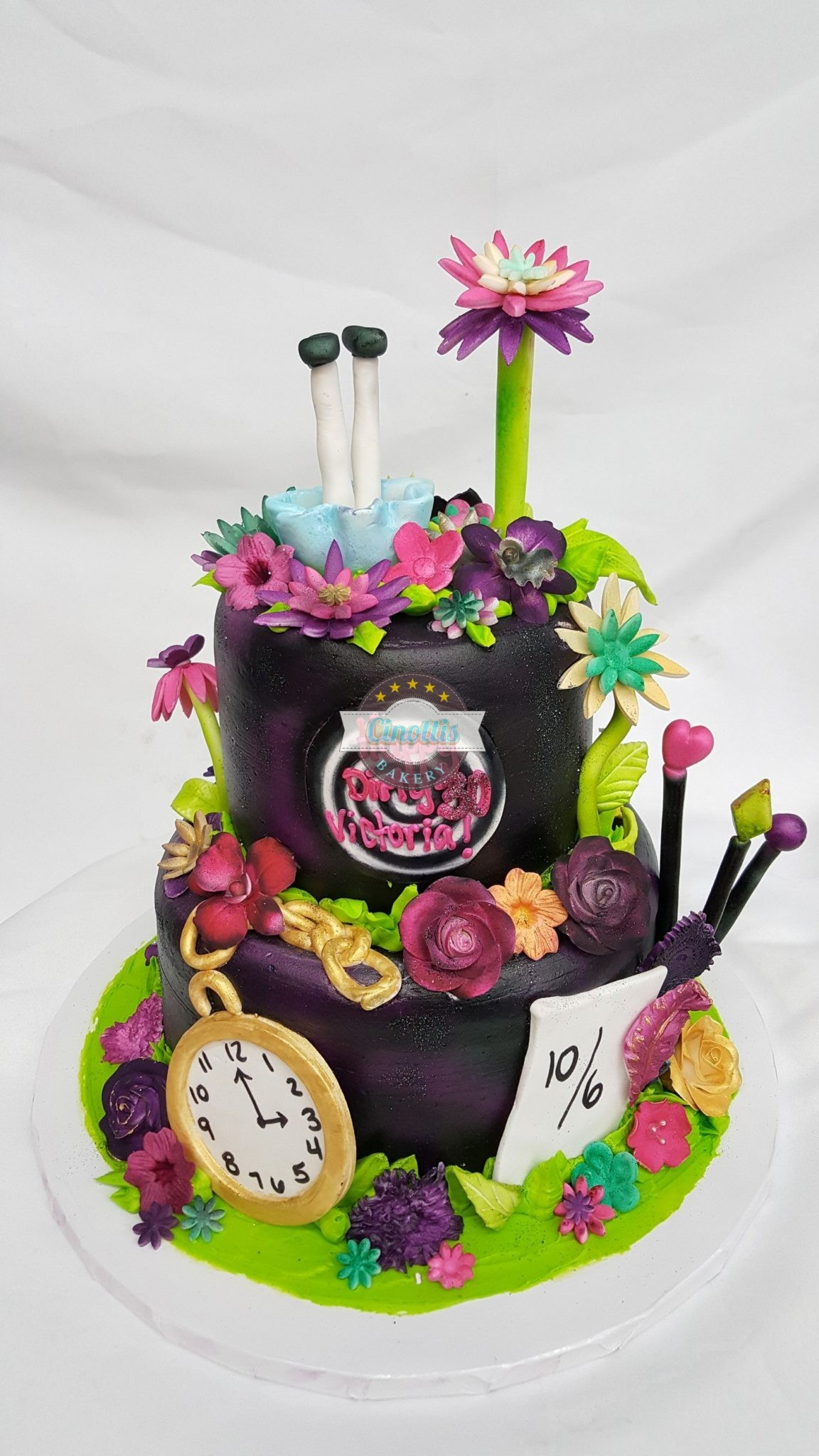Alice, Wonderland, Looking, Glass, Mad, Hatter, Cheshire, Fondant, Buttercream, Birthday, Party, Shower, Cinotti, Bakery