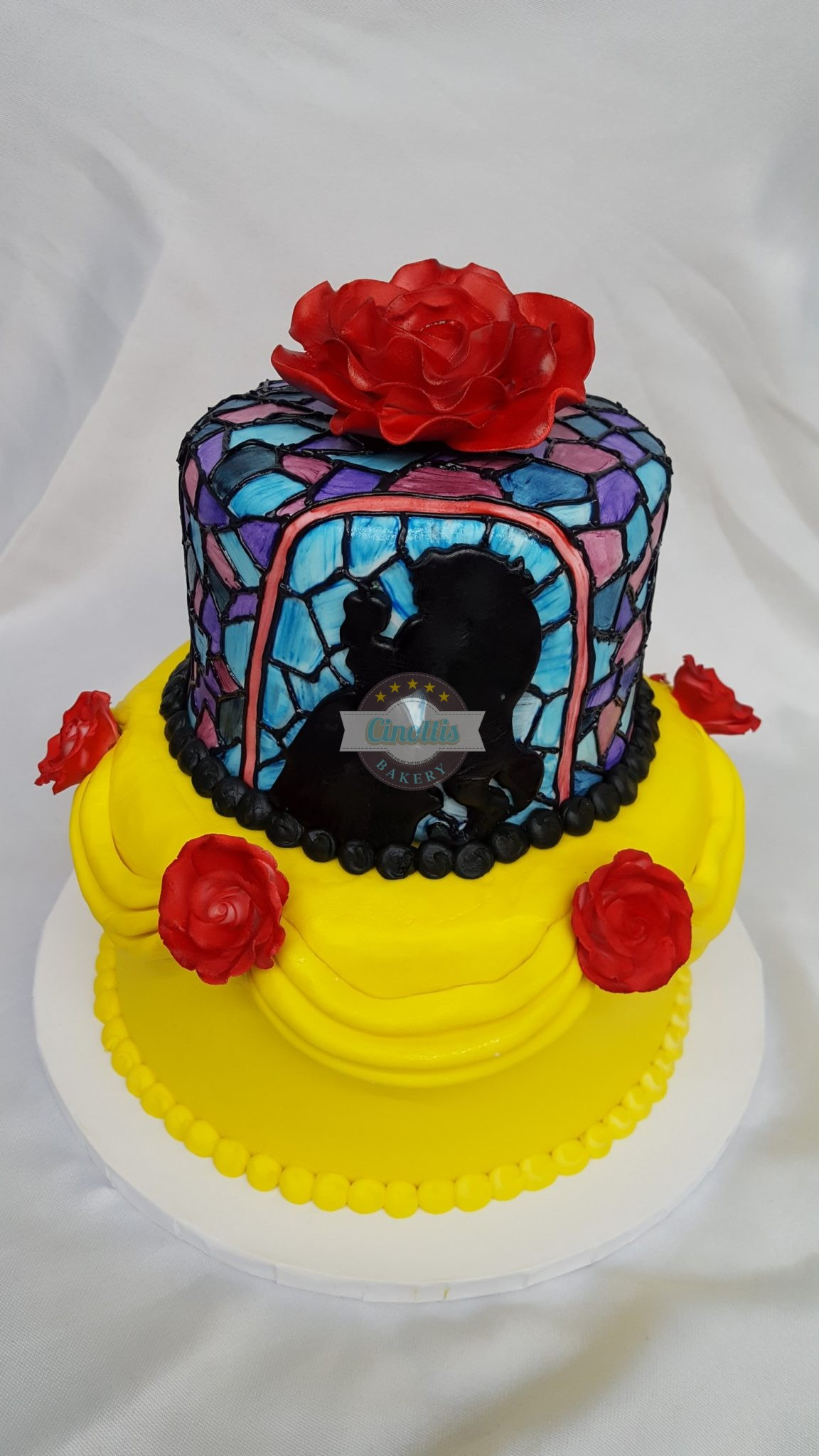 Beauty and the Beast, Stained Glass, Gold, Banners, Roses, Red, Fondant, Buttercream, Bakery, Jacksonville, Beach, Florida, Cinotti