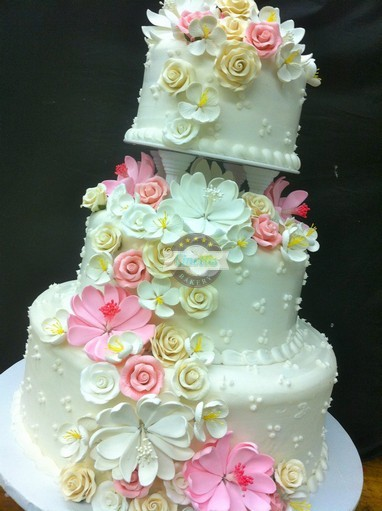 Flowing Flowers, Wedding, Cake, Flowers, Pinks, Summer, Cascade, Buttercream, Tropical, Cinottis, Jacksonville, Beach