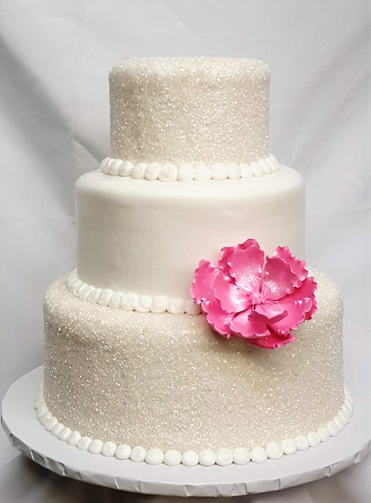 Sugar Covered Bliss, Glitter Wedding Cake Pink Flower Birthday Cinottis Bakery Buttercream