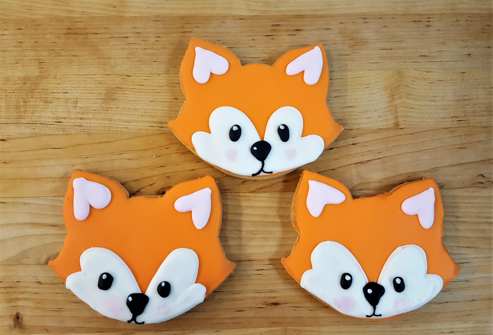 Fox Face, woodland, creatures, baby, cute, birthday, cookies, party, favors, trendy, jacksonville, beach, bakery