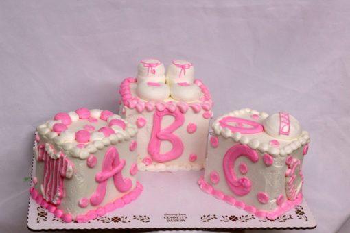 Baby Blocks, Cake, themed, shower, cake, pink, blue, party, jacksonville, beach, bakery