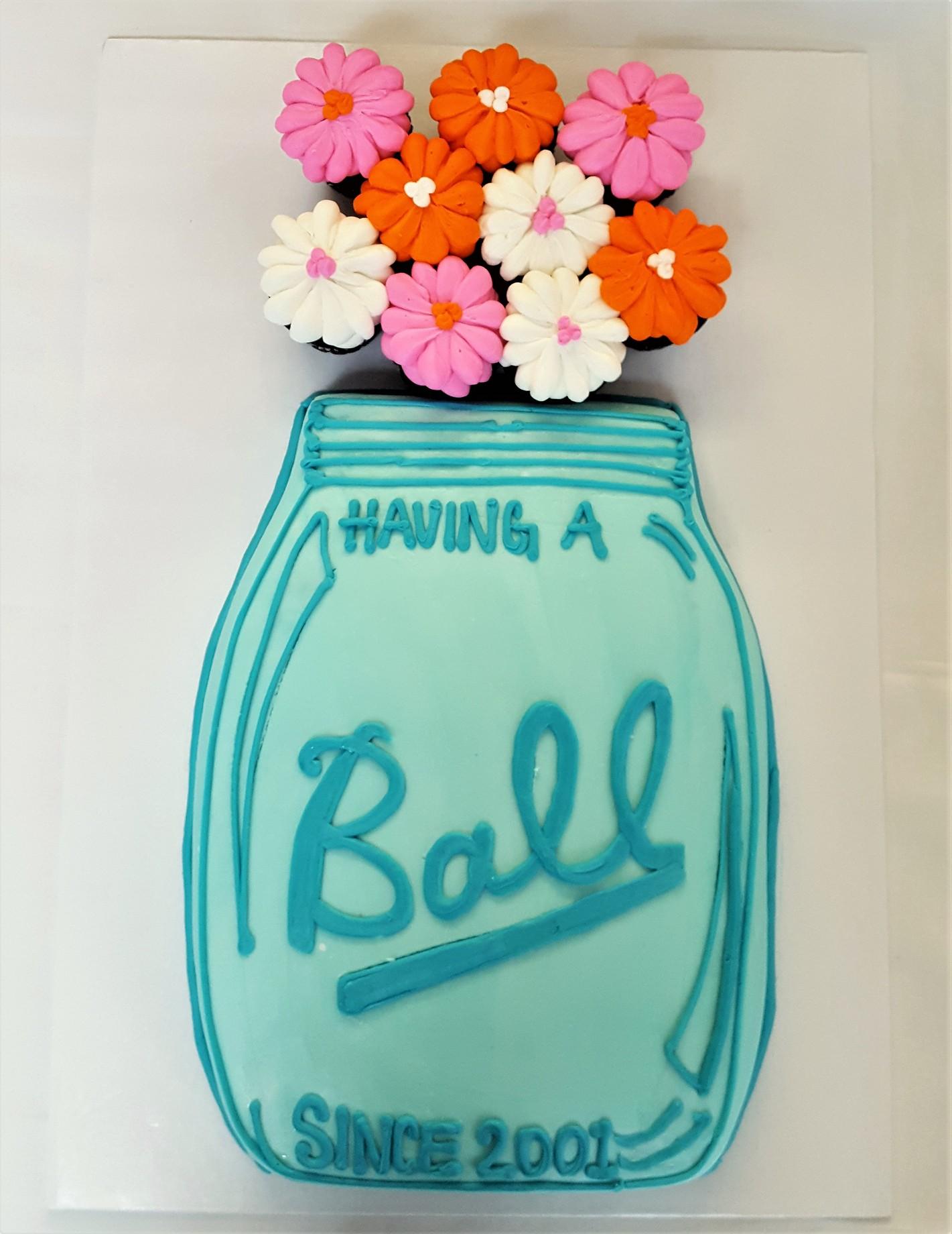 Mason Jar with Flowers celebration cake from Cinottis Bakery