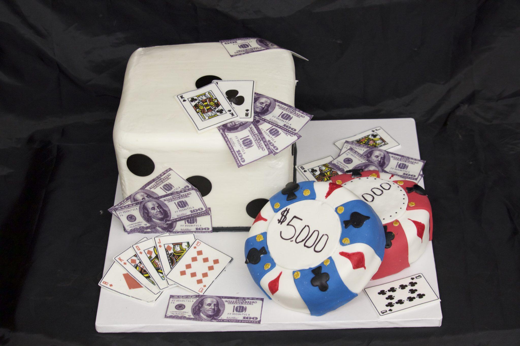 Vegas Game Night, cake, adults, dice, cards, poker, money, birthday, jacksonville, beach, bakery