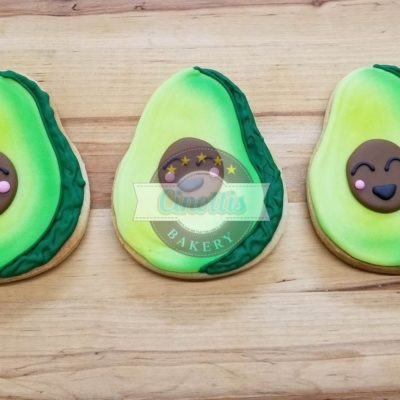 Avocado Iced Cutout, Cookies, Love, Valentines, Cinottis Bakery