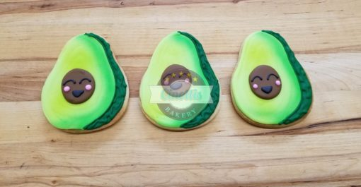 Avocado Iced Cutout, Cookies, Love, Valentines, Cinottis Bakery