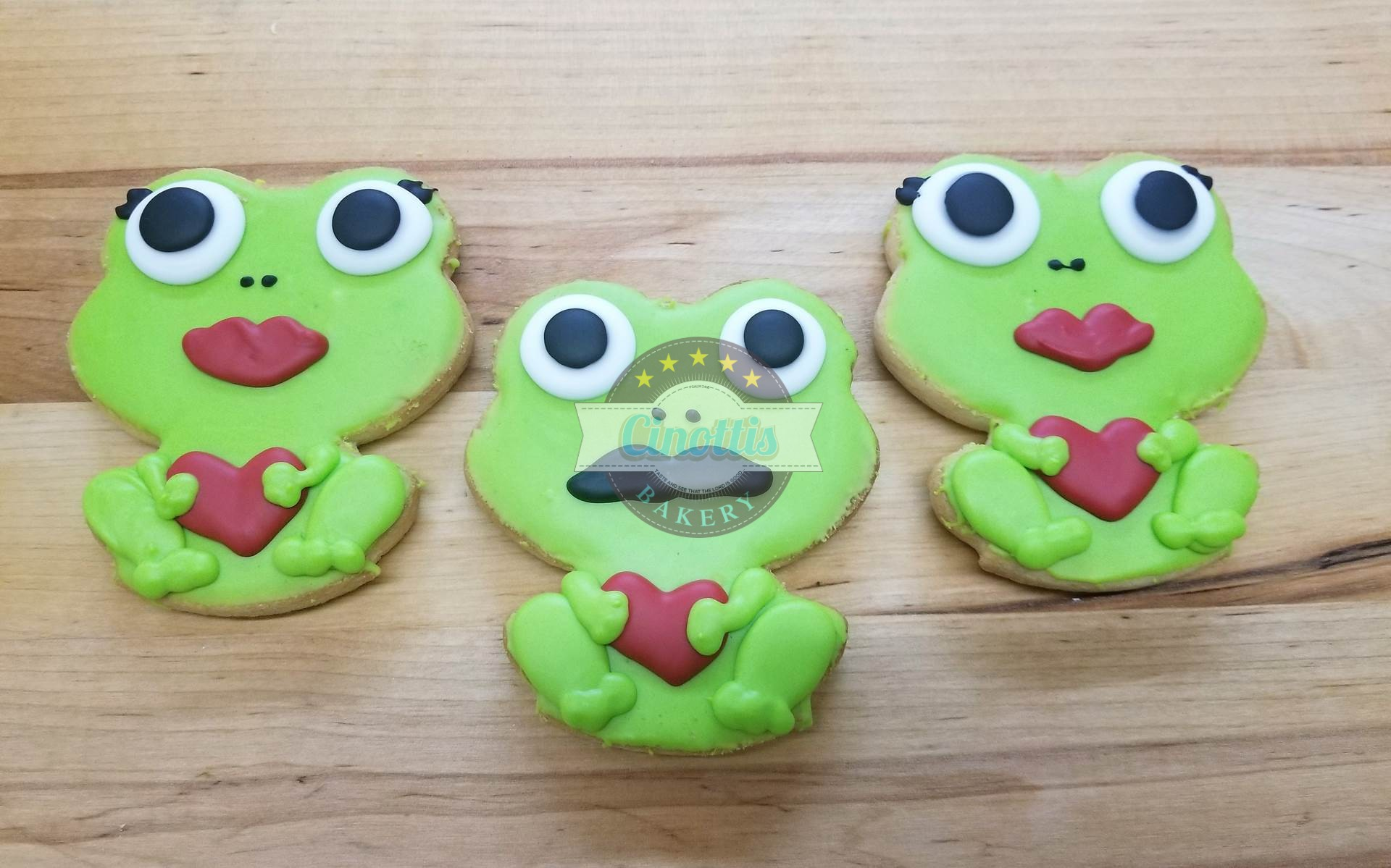 Frog Iced Cutout, Cookies, Cinottis Bakery, Valent