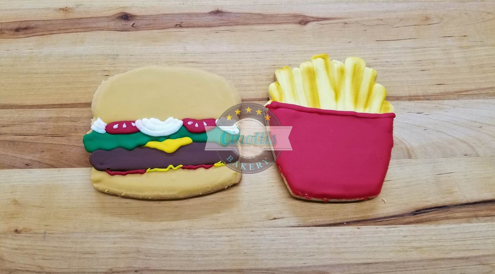 Cheeseburger and Fries Iced Cutout, Cookies, Cinottis Bakery, C