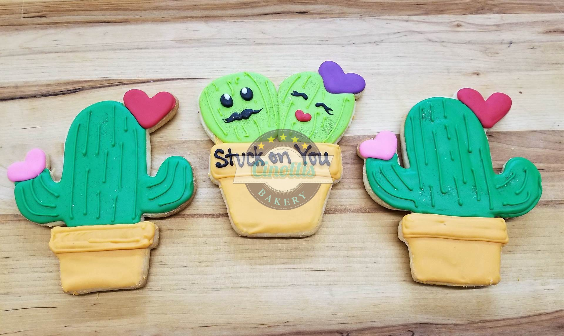 Cactus Iced Cutout Cookies, Cinottis Bakery, Valentines Day, C