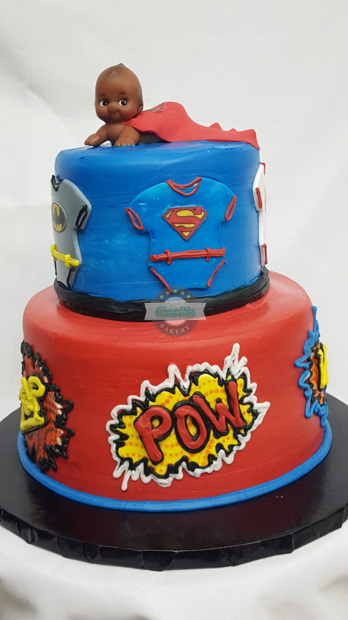 Comic Book Baby, Cake, Birthday, Comic, DC, Marvel, Spiderman, Batman, Superman, Cinottis Bakery