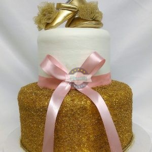 Ballerina Baby Shower, Pink and Gold, Cake, Cinotti's Bakery, Jacksonville Beach